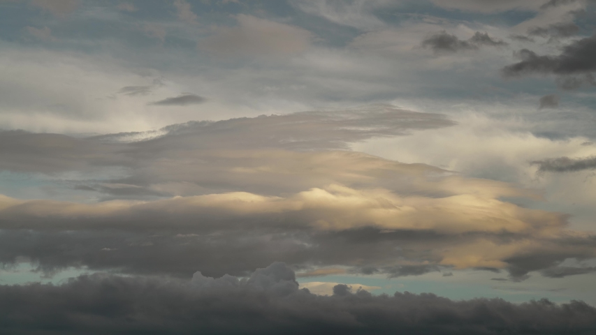 Cinematic 8K 7680x4320. Afternoon cloud of approaching the night. Clouds movement in sunset times. Cumulonimbus grow air cumulus nimbus sky cloudy fluffy overcast skies weather burst over up gloomy 8K | Shutterstock HD Video #1056406904