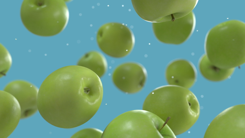 Green Apples Falling Down with Water Drops in Super Slow Motion on Solid Blue Background. Endless Seamless Loop 3D Animation Royalty-Free Stock Footage #1056424772