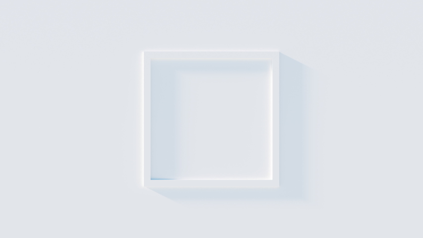 Abstract 3D animation of frame on white wall with shadows light effect. White square moving from wall and disappears. Background business footage. Royalty-Free Stock Footage #1056429116