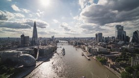 Majestic Tower Bridge, Sunny Day, Establishing Aerial View of London UK, United Kingdom