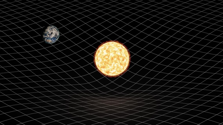 Earth rotating around sun and warping space-time. Showing gravitation in a simplified way.