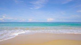 Phuket, Thailand. Beautiful beach sea sand and sky. Landscape view of beach sea sand and sky in summer day. Beach space area. At Karon Beach, Phuket, Thailand. On 20 July 2020. 4K UHD. Video Clip