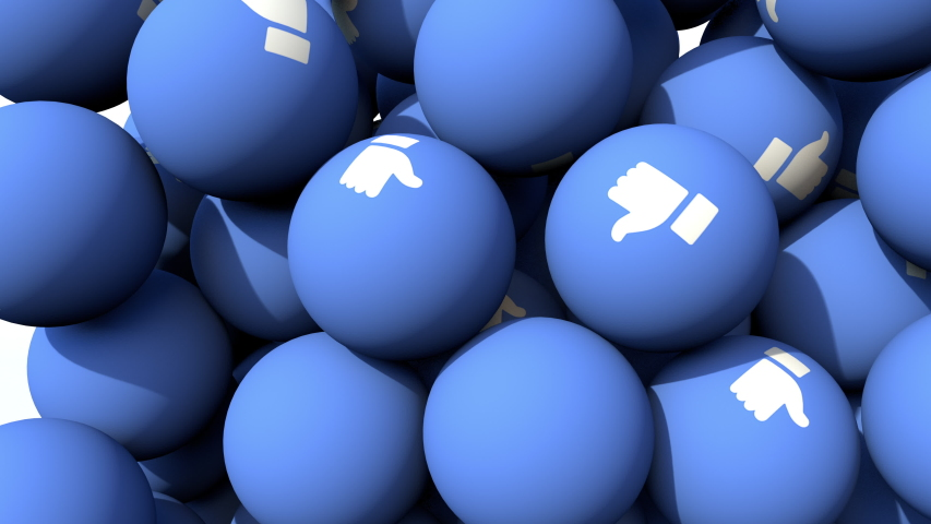 LIKE button blue balls with white thumbs up falling like in a gumball machine. Close up 3D animation of social media in stunning 4K | Shutterstock HD Video #1056436991