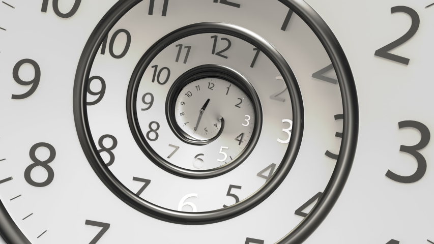 Classic Round Clock with infinity time. Round Clock Time running backwards. 3D Rendering Clock Spinning Back isolated from the white background.	 Royalty-Free Stock Footage #1056442763