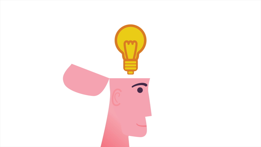 Businessman with lightbulb in open head. Good idea concept. Motion graphic. Video available in 4K FullHD and HD render footage. | Shutterstock HD Video #1056456062