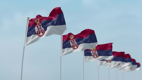 Row of waving flags of National flags of Serbia with sky Background . -3D rendering