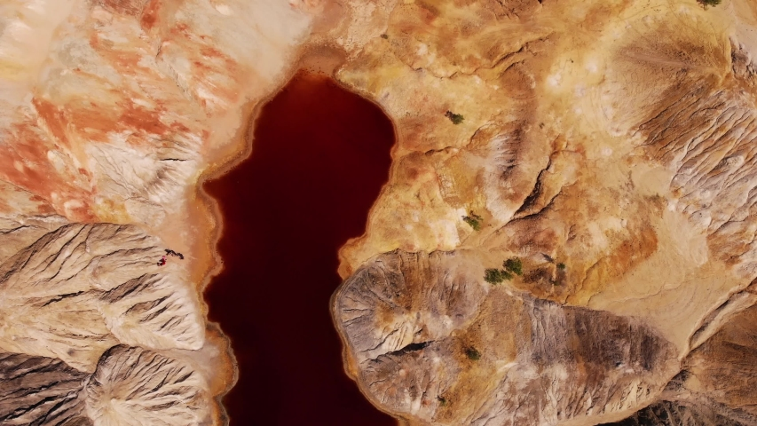 Ural Mars. Clay quarry in the Sverdlovsk region. Red water.