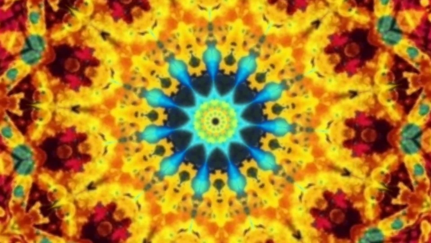 Video of Digital Kaleidoscopic flower pattern for Decoration of Background. Colorful Mosaic Bright and Decorative Footage loop of seamless ornament Abstract Graphic. MIrrored Reflection.