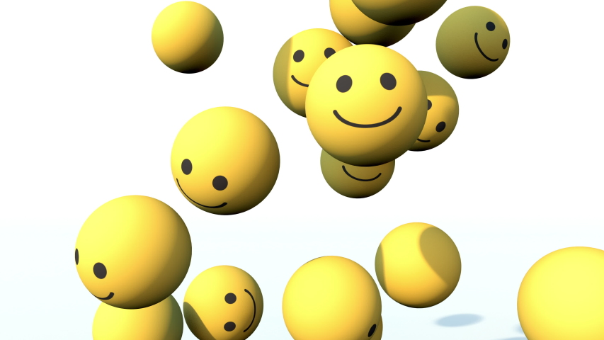 Social Media Happy Face balls falling down and piling up. 3D animation in 4K | Shutterstock HD Video #1056473348