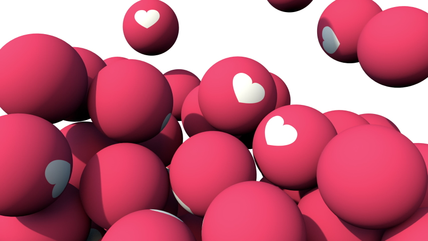 Social Media Heart balls falling and pilling up. Love 3D animation in 4K. Influencer valentine's day.  | Shutterstock HD Video #1056476258