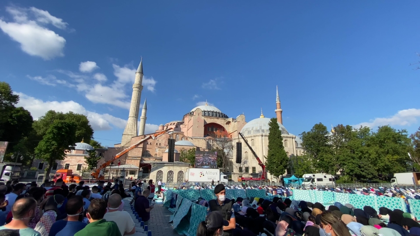 Fatih, Istanbul / Turkey - 25 July 2020 : People from all around Turkey surged into Istanbul to pray in Hagia Sophia after being reconverted into a mosque.