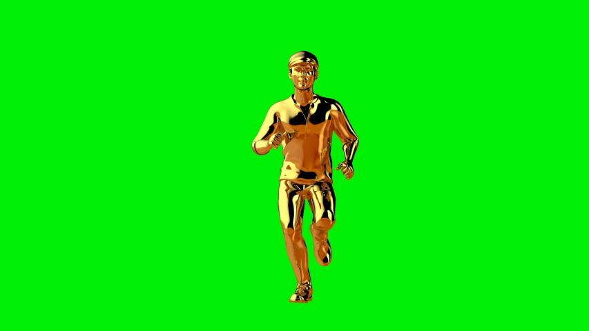 Golden runner seamless loop front view, Green Screen