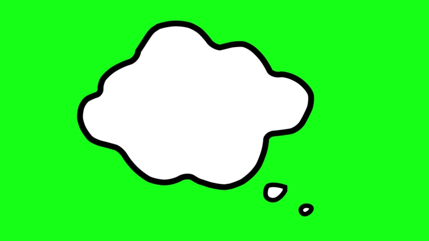 Clouds of thoughts on a green background. In the process of thinking an idea appears. An idea appears in thoughts. Freehand drawing, sketch, art, cartoon style animation. | Shutterstock HD Video #1056486071