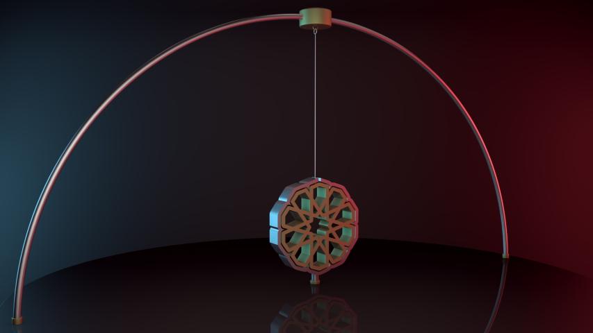 Traditional geometric ottoman patterned loop 3d pendulum animation