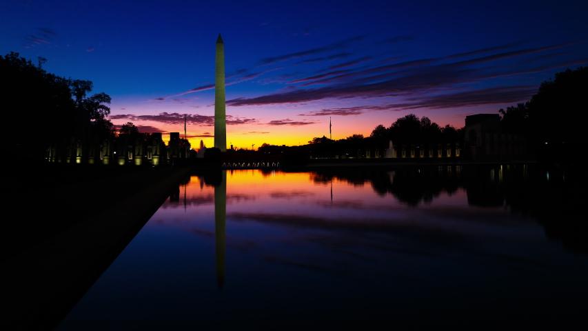 Washington Monument in Washington DC Sunrise Timelapse