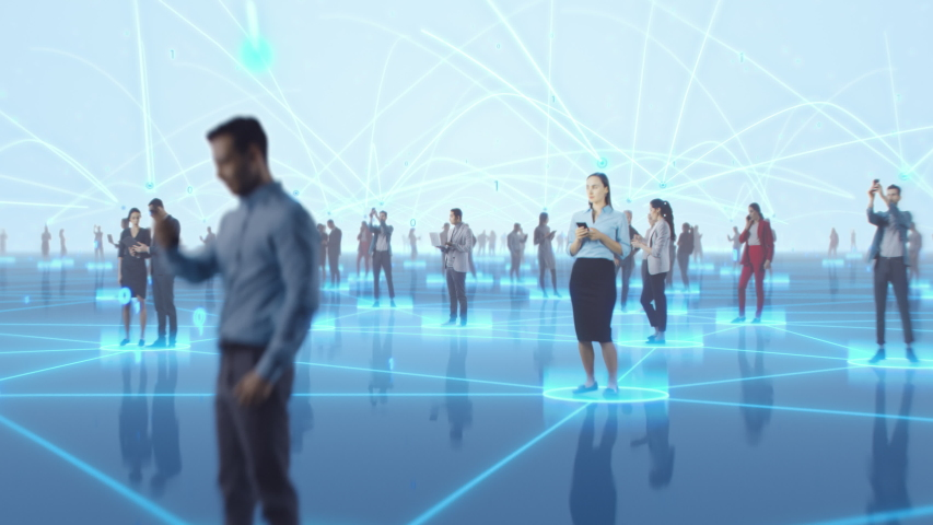 Happy People using Smartphone Devices in World Wide Connected Social Network. Diverse People do E-Business, Communicate, Send Messages. Visualization of Internet Virtual Reality Interconnected Persons | Shutterstock HD Video #1056506843