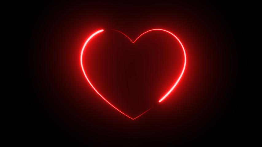 Light neon moving around the heart symbol. black background, 4k. | Shutterstock HD Video #1056511154