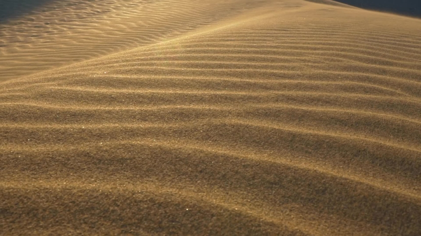Dune desert sands abstract shot. Grains of sand waving in the wind. Sunlight reflecting on folded sand surface. Slow motion shot | Shutterstock HD Video #1056527183