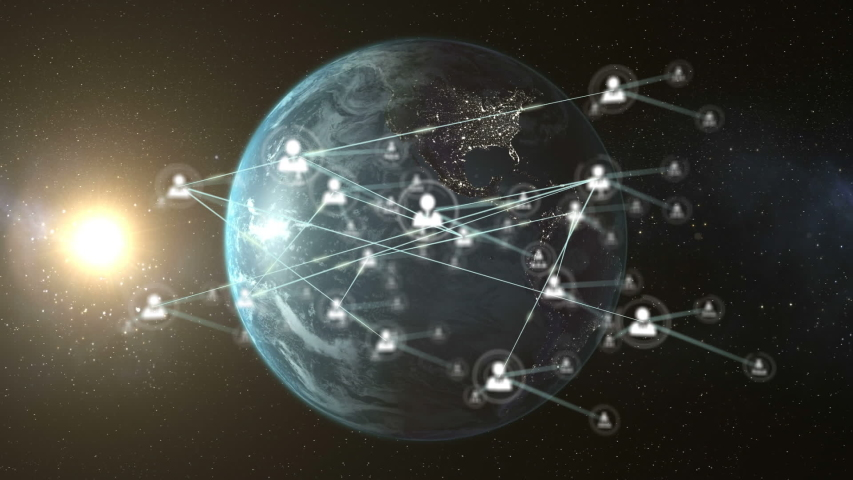 Animation of network of connections with people icons with digital globe spinning in the background. Global networking and connections concept digitally generated image. | Shutterstock HD Video #1056527537