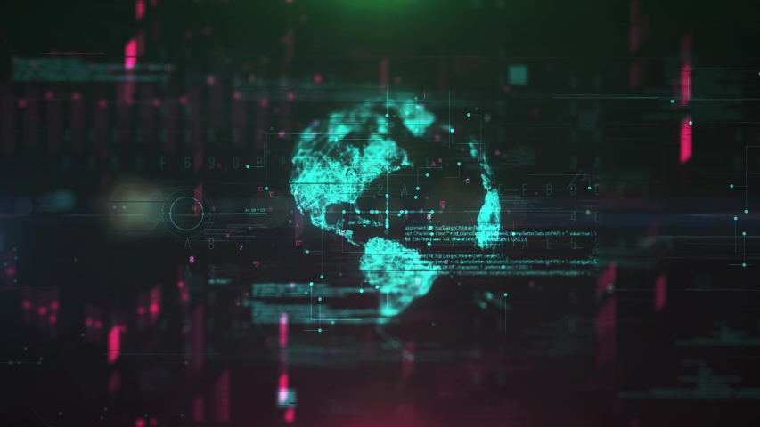Planet earth spin with digital  technology background. Globe net 4K animation. Global network concept HUD sphere with dots and lines. Motion globe connection wire frame with digital binary numbers.  Royalty-Free Stock Footage #1056530690