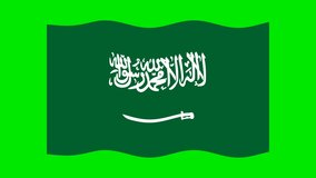 Animated waving Saudi Arabia flag. Animation, motion graphics. Useful for social media, videos, websites, interfaces. Happy National Day. Chroma key, green screen background.
