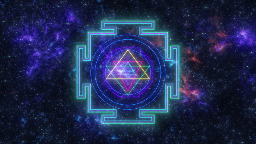 Shri yantra Sacred Geometry animated symbols of sacred geometry for meditation and yoga events, trance festival, films about nature, maths, spirit, philosophy and universe.  Royalty-Free Stock Footage #1056552203