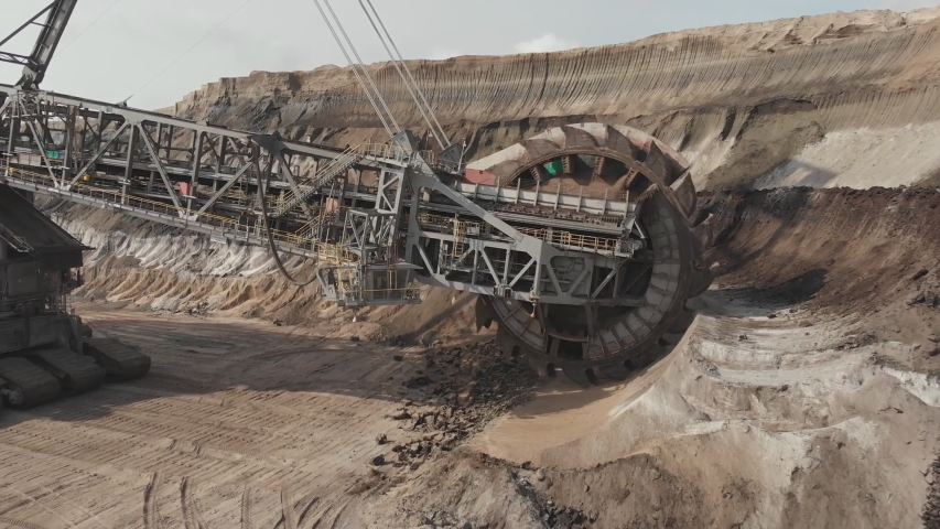 A large bucket wheel excavator in a lignite (brown-coal) mine , Germany (aerial photography)