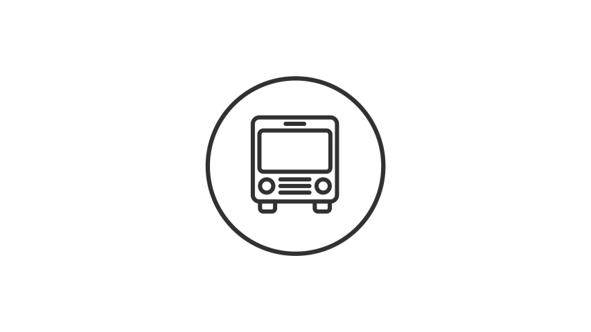 Bus Animated Line Icon Design. 4k Animated Travel & Transport Icon to Improve Your Project and Explainer Video