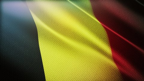 4k Belgium National flag slow waving with visible wrinkles in Belgian wind blue sky seamless loop background.A fully digital rendering,animation loops at 40 seconds,smooth texture.
