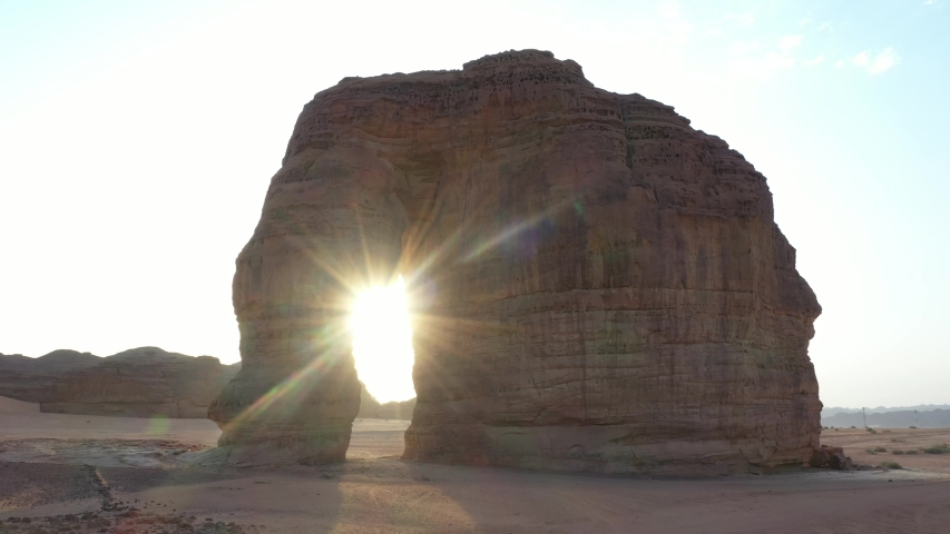 Al Ula Elephant rock in Saudi Arabia view from drone camera up view to show how amazing this place