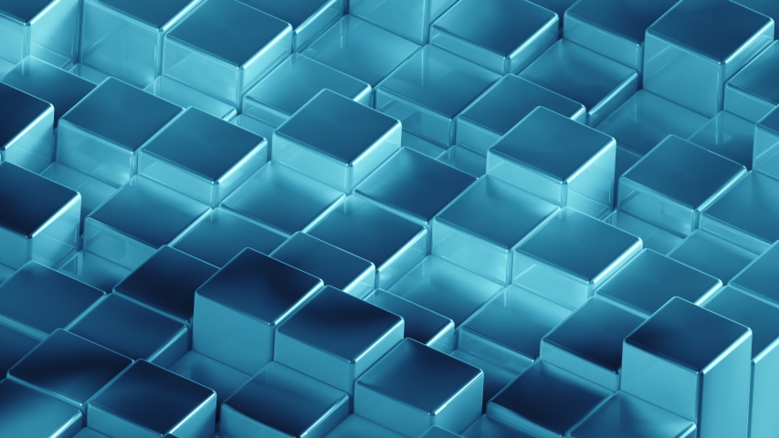Abstract cyan turquoise metallic Cubes Background. Metal cube pattern wall. 3D rendering. Projection Mapping element with moving cubic surface. 4k Seamless loop Royalty-Free Stock Footage #1056581519