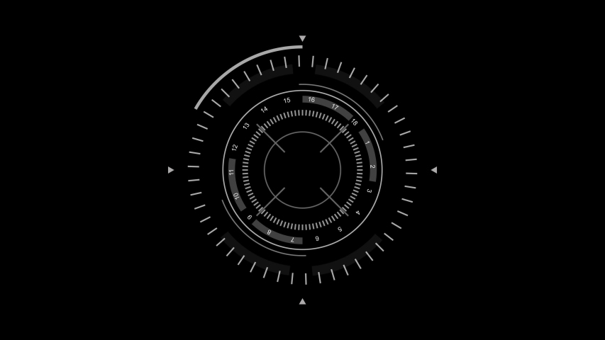 PNG Alpha.Circle HUD technological futuristic elements.Sci Fi circle elements appearing and disappearing within 10 sec.Technological HUD template.2D Texture for broadcast future design. Royalty-Free Stock Footage #1056584681