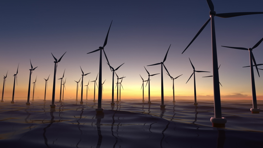 Wind power plant towers in sea. Energy Windwill in dusk ocean at sunset with beautiful golden horizon. Windenergy farm with many turbine windwill generating alternative energy.