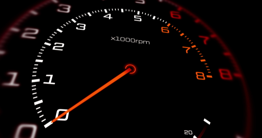 High Speed Racing Car Dashboard Pushing The Limits Of V8 Engine. Tachometer Showing Extreme Performance. Powerful V8 Engine Working In Flames. Technology And Industrial Concept 3D Animation Royalty-Free Stock Footage #1056595793
