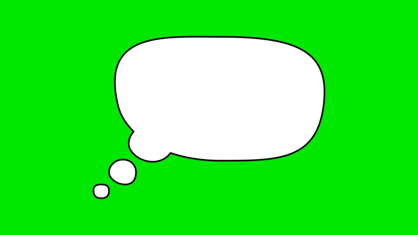 Animated white outlined speech bubble, chat balloon icon. Pictogram, comic book, anime. Useful for web site, banner, greeting cards, apps and social media posts. Chroma key, green screen background. | Shutterstock HD Video #1056600284