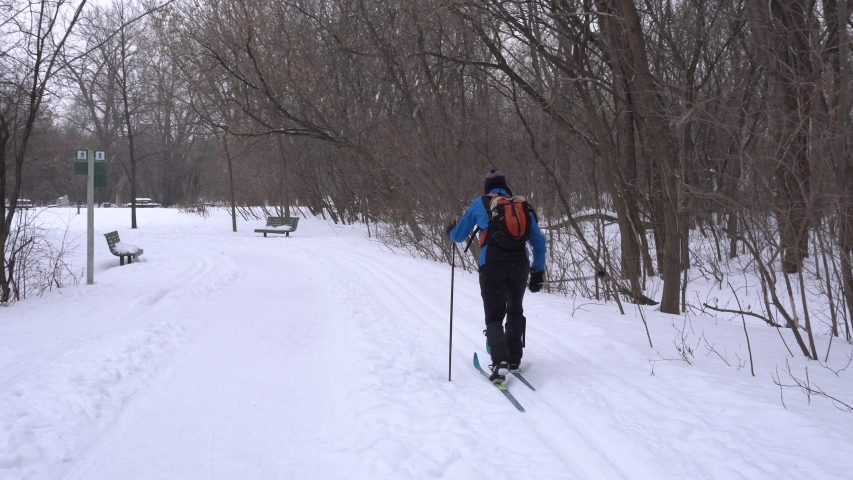 A person who cross-country skis and an old person who walks.