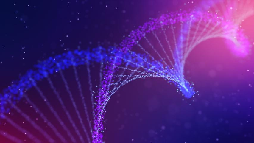 Abstract DNA 3D animation on dark blue background. Hologram blue glowing rotating DNA double helix. Science and medicine concepts. Seamless loopable background. Royalty-Free Stock Footage #1056608648