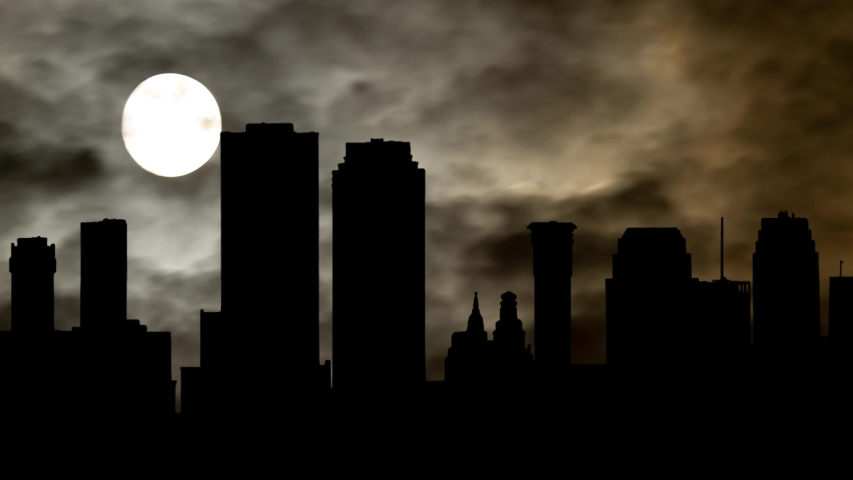Dark Atmosphere in New Orleans Downtown, Time Lapse with Full Moon, Louisiana, USA