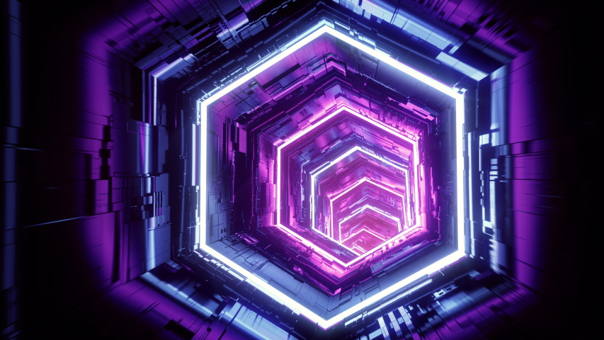 Flight in abstract sci-fi tunnel seamless loop. Futuristic VJ motion graphics for music video, EDM club concert, high tech background. Time warp portal, lightspeed hyperspace concept. 4k 3D animation