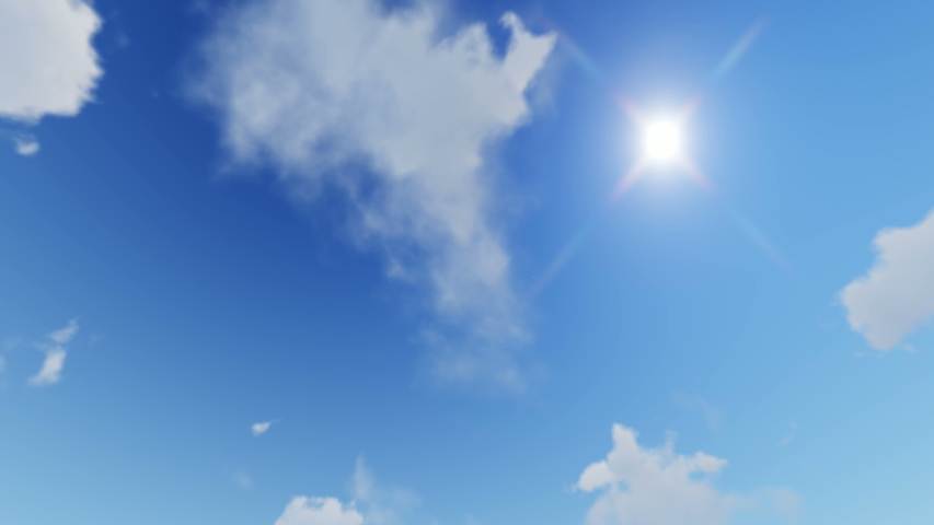 Beautiful blue sky with clouds background. Sky clouds. Sky with clouds weather nature cloud blue. Blue sky with clouds and sun. Loop. Royalty-Free Stock Footage #1056619232