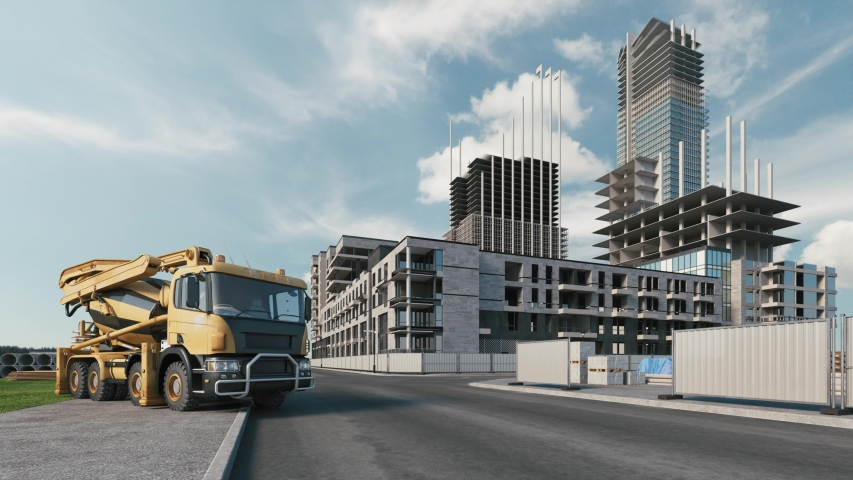 Residential area construction timelapse. Residential building construction animation. Concrete mixer truck on the background of building houses. Project construction site.