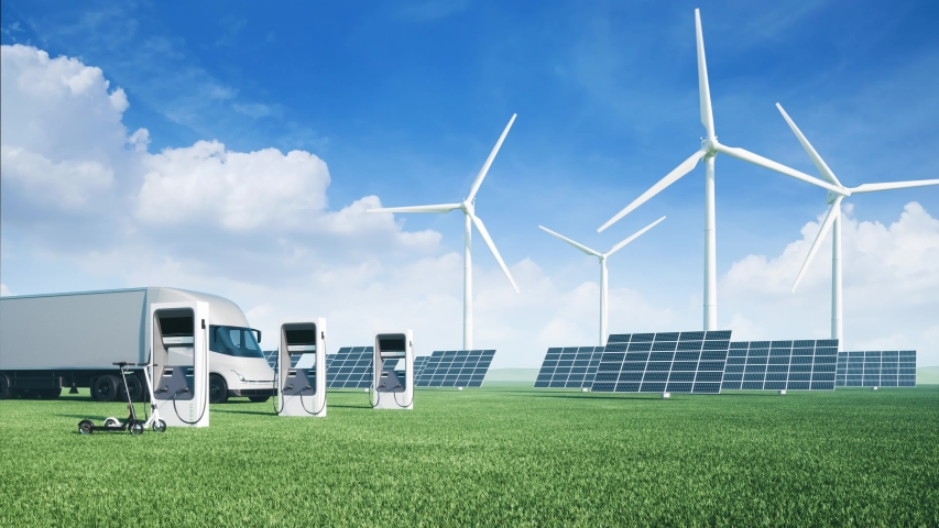 Electric cars on the background of wind turbines. Alternative energy for cars. Ecological car on green grass. Royalty-Free Stock Footage #1056627164