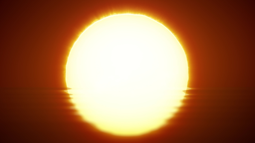 Beautiful clear big sunrise (sunset) close-up. Big red hot sun in the reflection of the sea over the horizon. | Shutterstock HD Video #1056627470