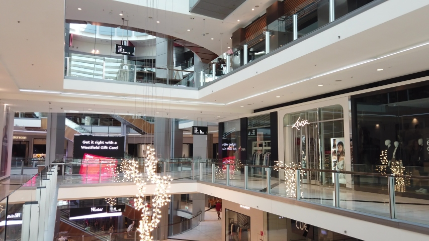 Chatswood, Sydney, Australia - Apr 2020:Empty shopping mall and closed shops, department store chain, store closure in Chatswood westfield during Covid-19 pandemic lockdown