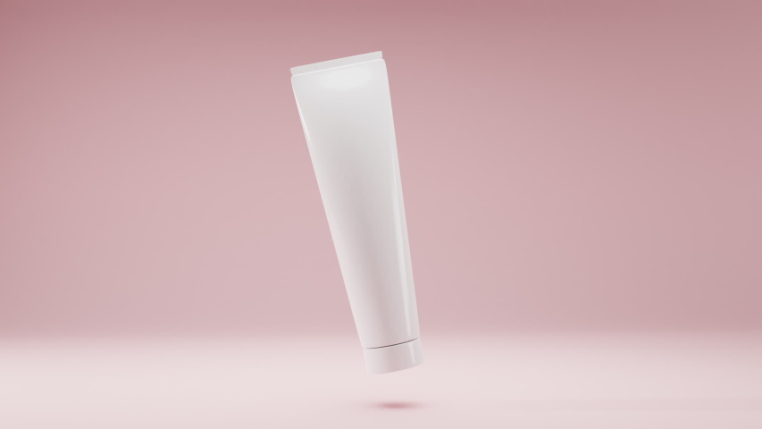 Cosmetic white package, plastic tube for bb-cream, scrub, tonic, toothpaste, body care. Realistic 3D model bottle on gently pink background slowly rotates in air for product design and advertising. Royalty-Free Stock Footage #1056635810