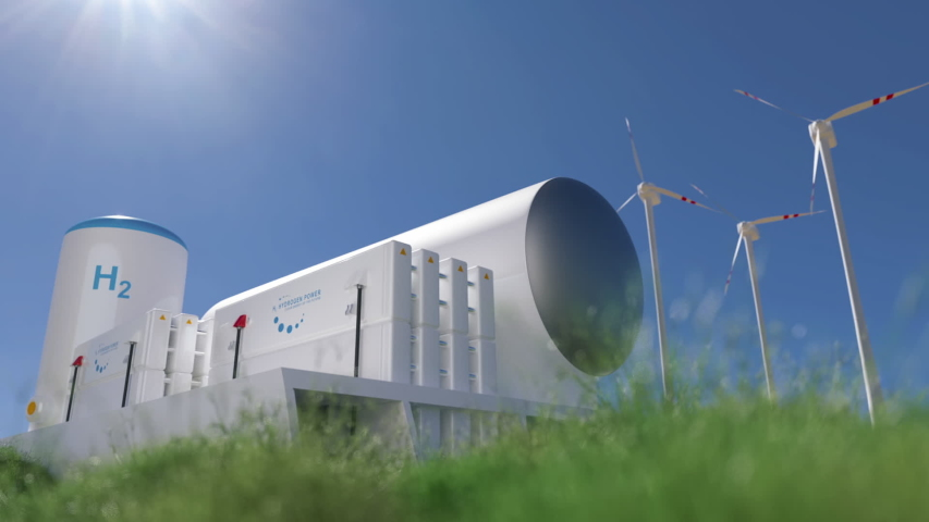 Hydrogen renewable energy production - hydrogen gas for clean electricity solar and windturbine facility. 3d rendering. Royalty-Free Stock Footage #1056637646