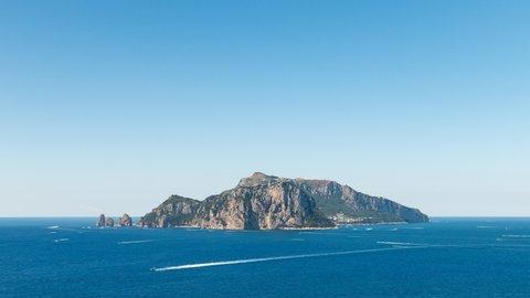 Timelapse of capri faraglioni with boats