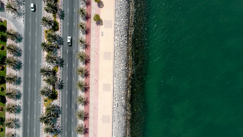 Seaside road with palm trees and running track in Marjan Island in Ras al Khaimah emirate of UAE aerial view   Shutterstock HD Video #1056659411