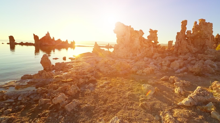 Mono Lake stalagmites at dawn. Sedimentary formations in the sunlight of the morning. The Mono Lake Tufa State Natural Reserve in California, United States, besides the Yosemite National Park.