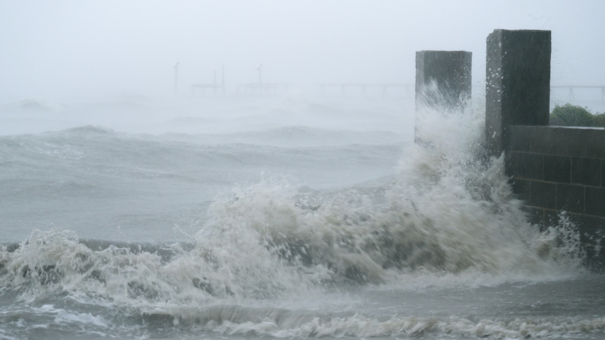 Storm Surge Splashes Over A Seawall During Hurricane Hanna #1056666671